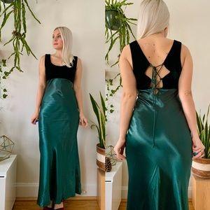 Vintage 90s does 30s velvet + satin lace up gown